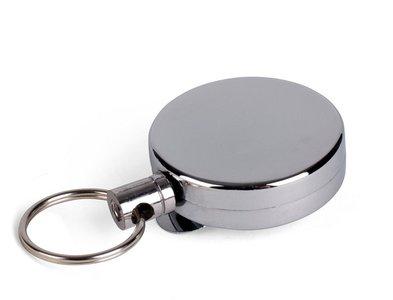Intrekbare sleutelhanger chroom